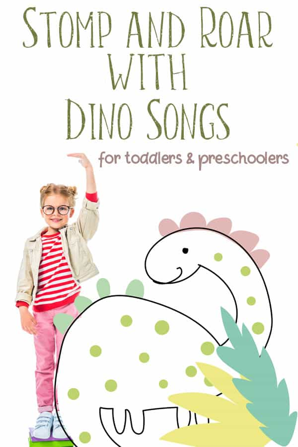 picture of a girl standing on books with drawn dinosaur for songs to stomp and roar with dinosaurs