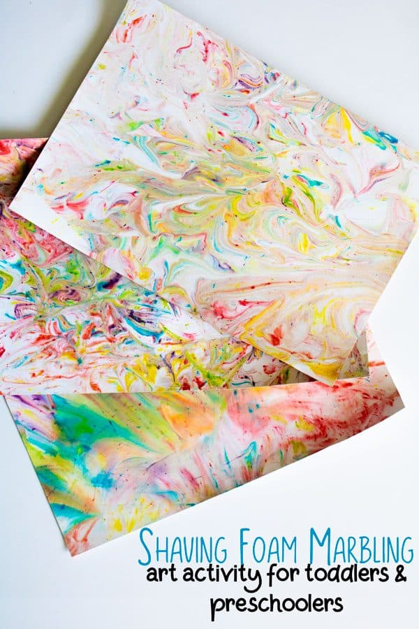 Shaving foam marbled paper created by kids