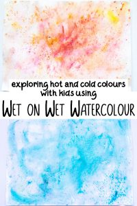 hot and cold art project for kids using wet on wet watercolour techniques