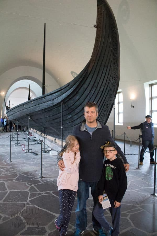 family in the viking ship museum in oslo norway
