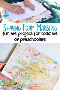 Pinterest Image for Shaving foam Marbling a fun art project for toddlers and preschoolers
