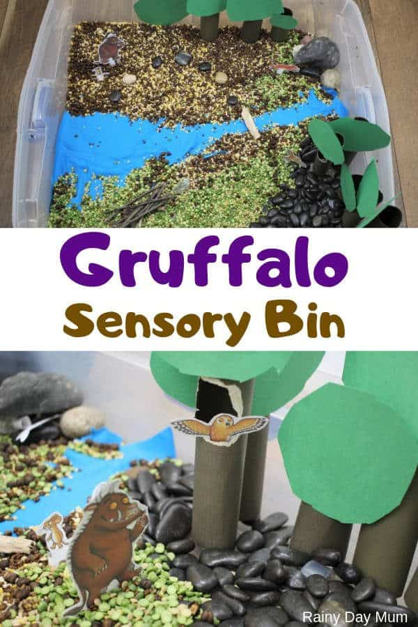Gruffalo themed sensory tray pinnable image