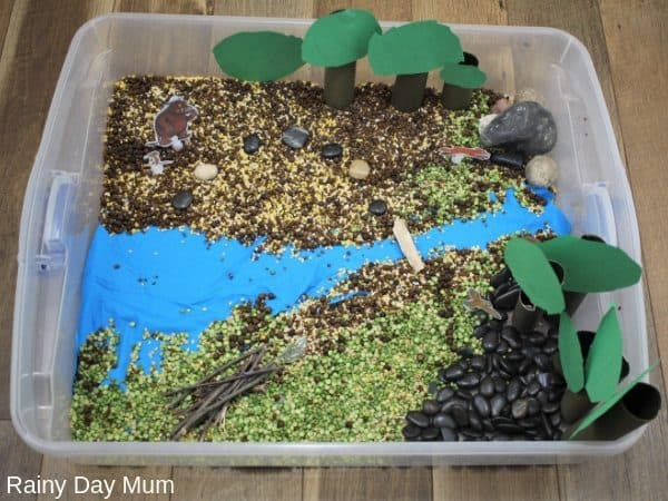 Gruffalo sensory tray set up for play