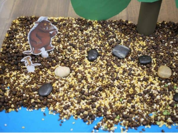 Close up of gruffalo sensory bin using taste safe materials