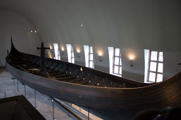 looking down on one of the viking ships in the museum in norway