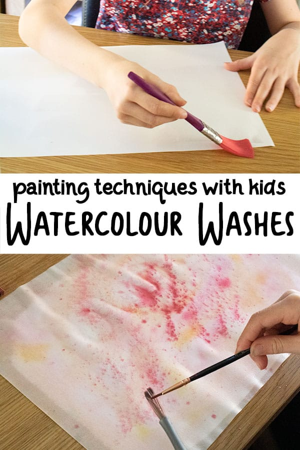 pinterest image of painting using watercolour wash technique with kids