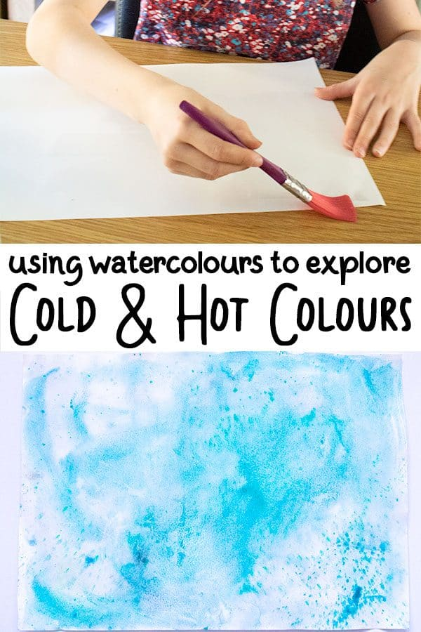 Using Watercolours to create and explore hot and cold colours on a watercolour wash with kids