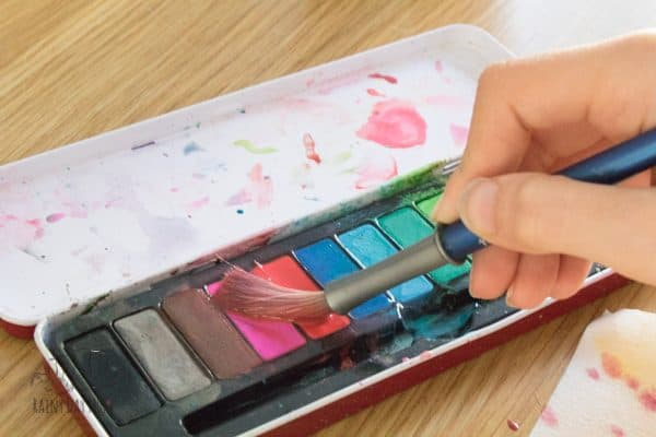 painting with watercolours using warm colours