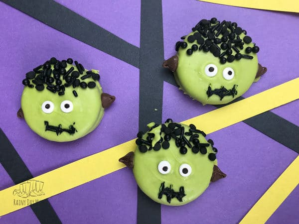 Frankenstein's Monster Cookies made from Oreos an easy Halloween Treat for Kids to Make