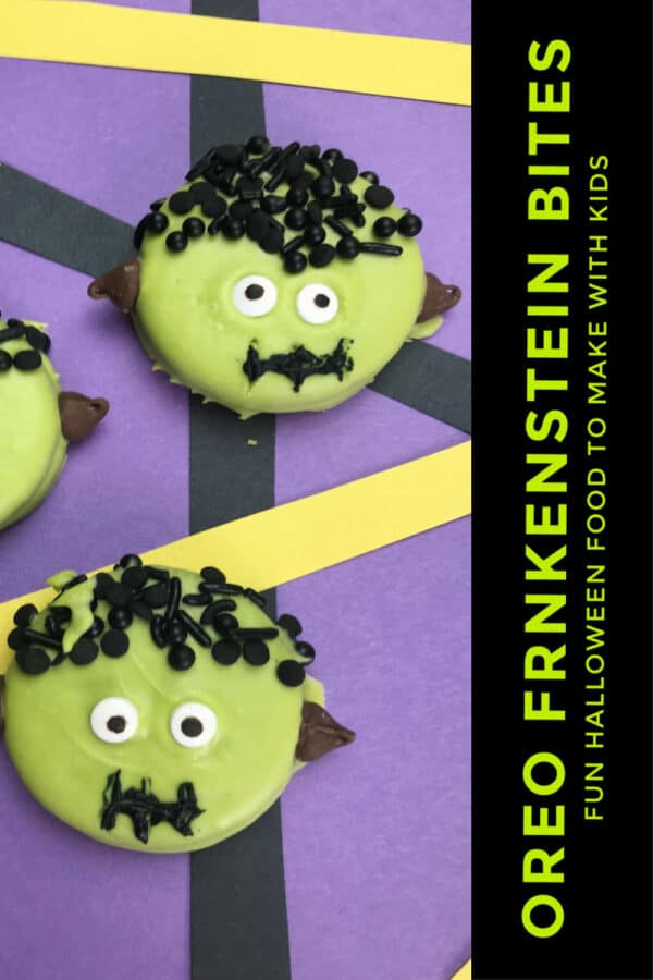 Oreo Frankenstein Bites for cooking with kids