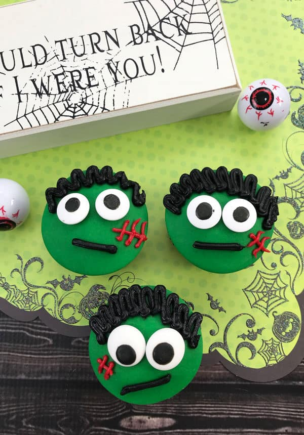 Frankenstein's Monster's Cupcakes for Fun Halloween Parties with Kids