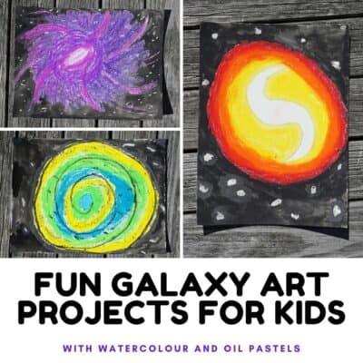 fun space themed art project for kids to make galaxies with oil pastels and watercolours
