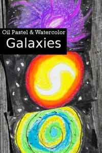Finished picture of oil pastel and water colour galaxies that kids can make
