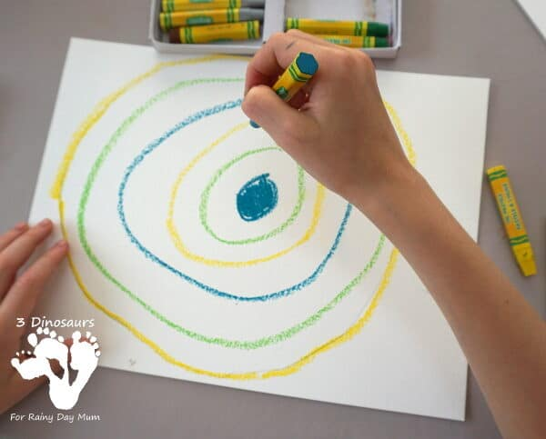 creating colour blended galaxies with oil pastels and water colours