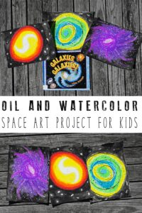 Space art Project for Kids - Watercolor Galaxies with Oil Pastels
