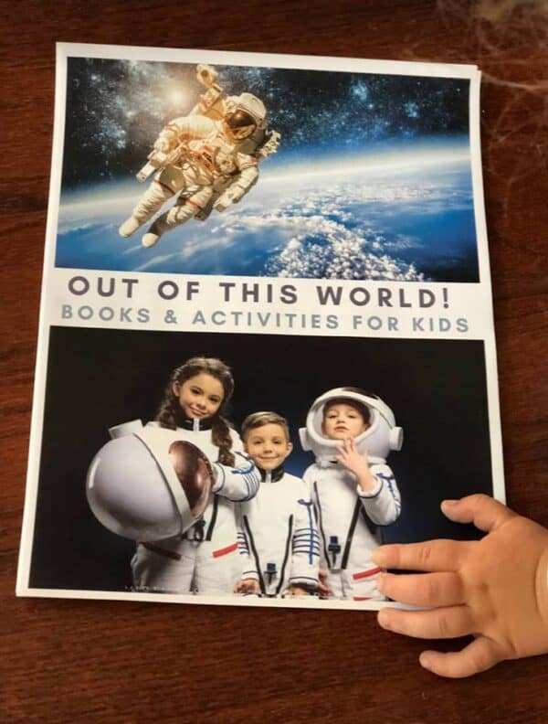 Space themed activity mini pack for kids from the Virtual Book Club for Kids