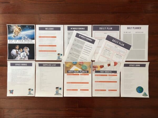A peek inside the pack contents for the Space Themed Activities Pack for Toddlers and Preschoolers