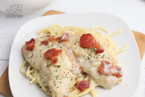 close up of chicken carbonara