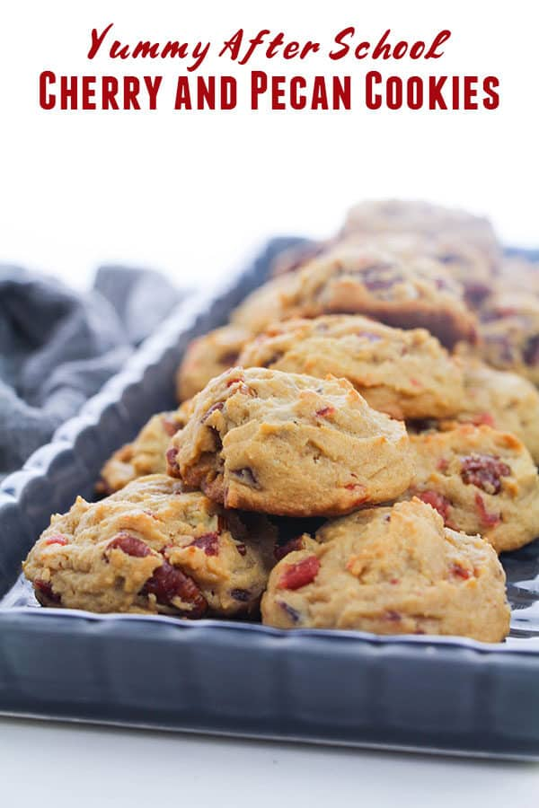 tray of after school cookies text reading Yummy After School Cherry and Pecan Cookies