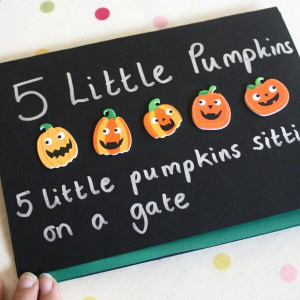 diy halloween book for preschoolers to make for the rhyme 5 little pumpkins