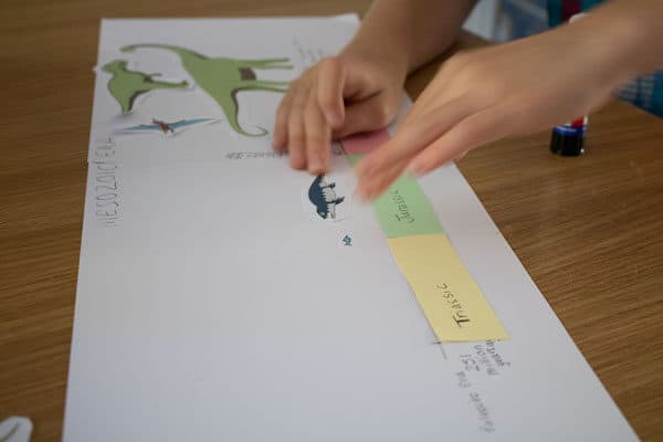 kids making a dinosaur timeline