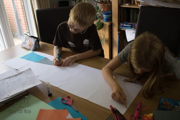 kids starting to work on the different sections on the earth timeline