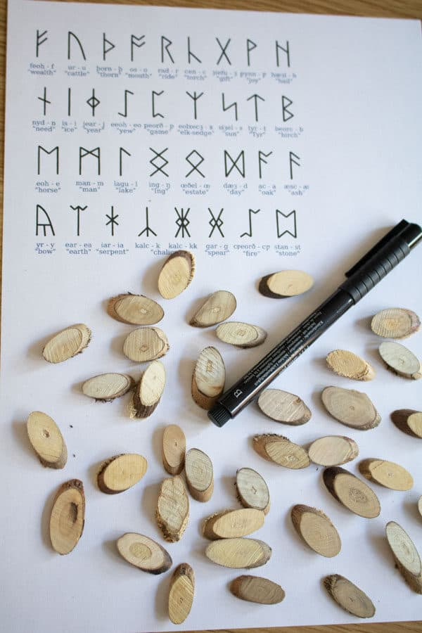 materials needed to create your own set of wooden anglo-saxon runes