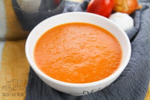homemade roasted tomato soup in a bowl by the stockpot