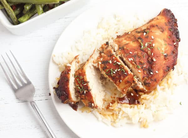 Chicken breasts cooked in the slow cooker