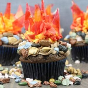 bonfire night fire cupcakes
