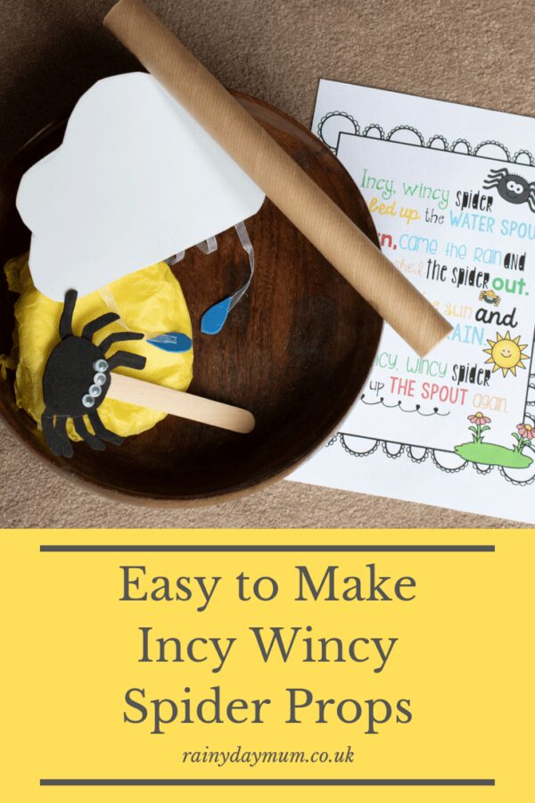 Easy to make Incy Wincy Spider Nursery Rhyme Props
