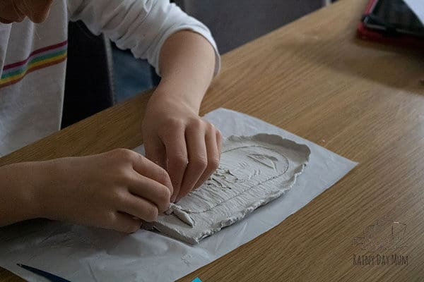 Making clay cartouches a homeschool history project with kids