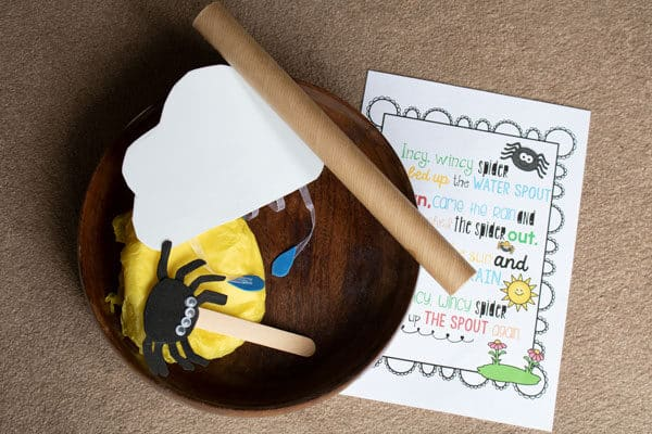 incy wincy spider treasure basket ready for playing with toddlers and preschoolers