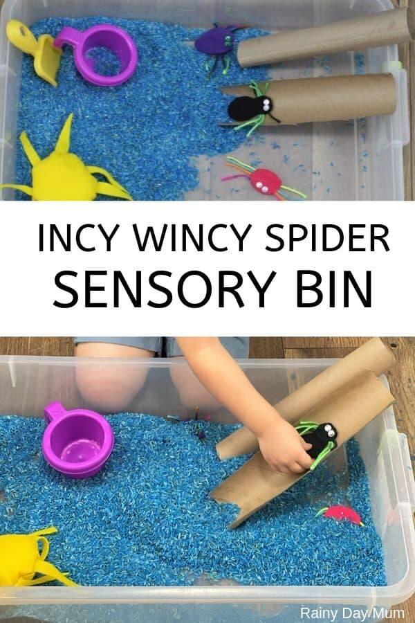 Incy wincy spider sensory bin collage