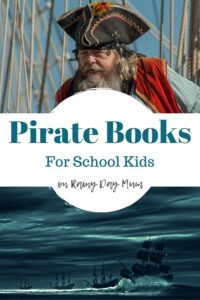 pirate themed book list for school kids pinnable images with text