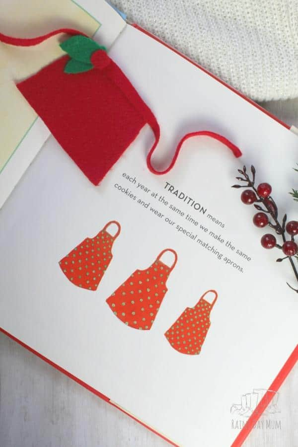 apron made inspired by the tradition in the book