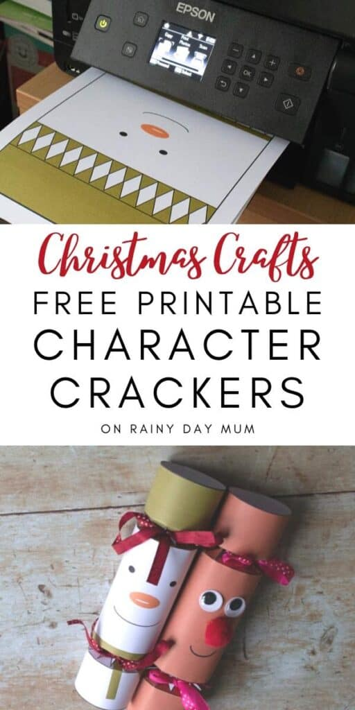 Christmas craft free printable Character to Crackers to Make
