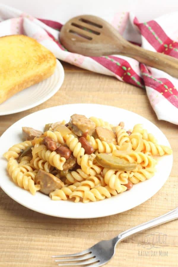creamy sausage and bean pasta