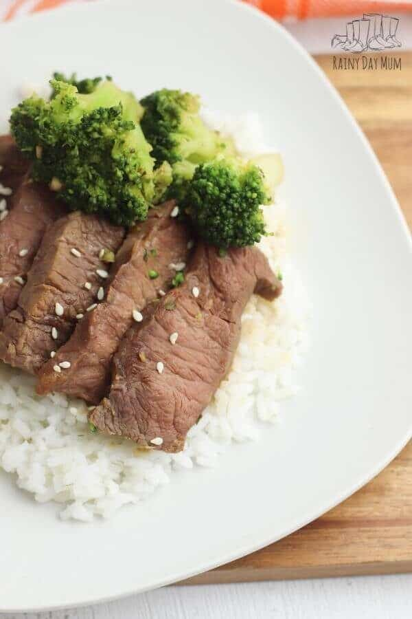 spicy beef and broccoli over white rice