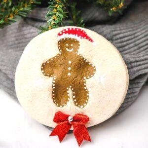 gingerbread man salt dough paw print decoration