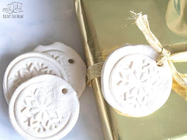 handmade white dough gift tags for Christmas