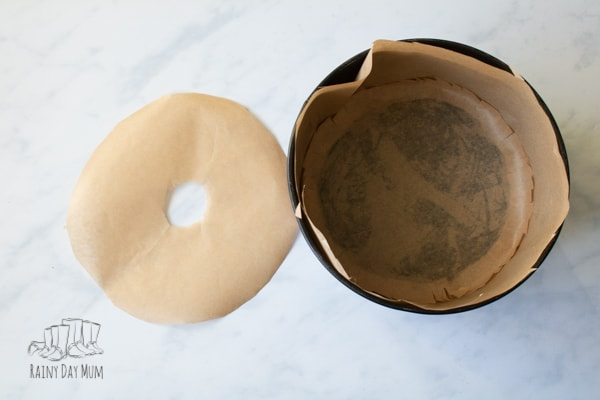 lined 8 inch round cake tin
