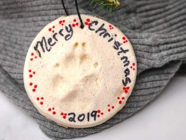 Simple paw print ornament made with homemade dough