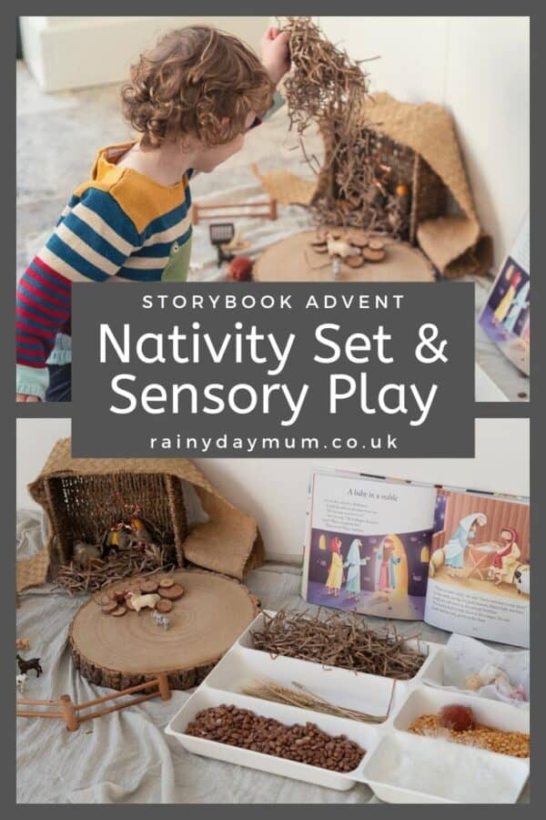storybook advent Nativity set and sensory play
