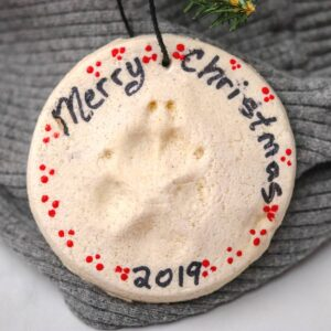 paw print salt dough christmas ornament