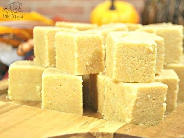pile of pumpkin and white chocolate spiced fudge