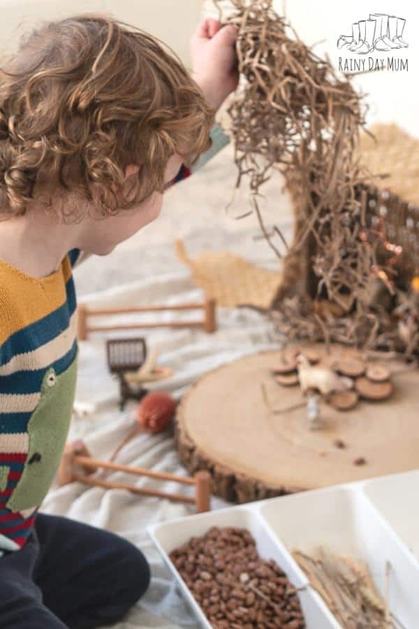 preschooler helping to set up a Nativity Crib that they can Play with