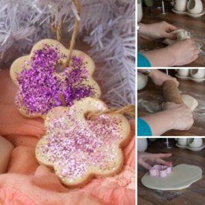 collage of making salt dough ornaments using a microwave salt dough recipe