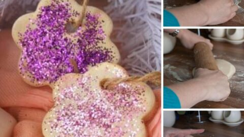 collage of making salt dough ornaments using a microwave salt dough recipe