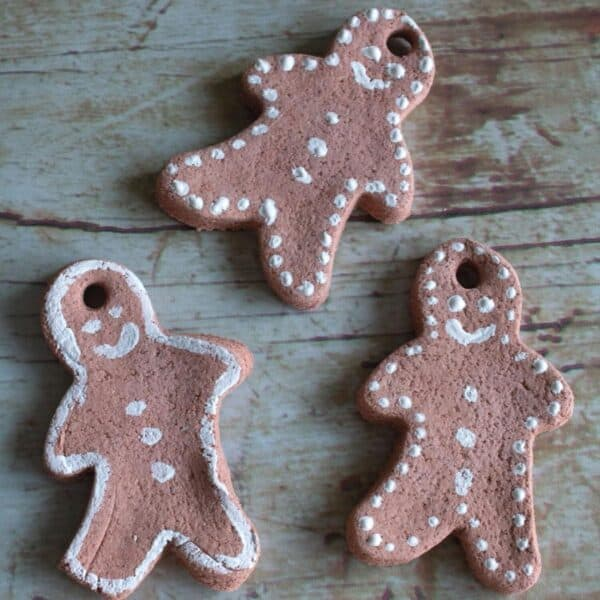 scented and coloured gingerbread men salt dough ornaments for Christmas crafts and Ornaments